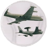 Round Beach Towel featuring the photograph Raf Nimrod And Awac Aircraft by Paul Fearn