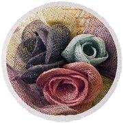 Raffia Roses Macro Round Beach Towel by Sandra Foster