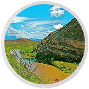 Rafting In Santa Elena Canyon In Big Bend National Park-texas Round Beach Towel