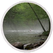 Rafting Misty River Round Beach Towel