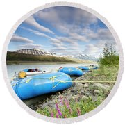 Rafts And Wildflowers Along The Alsek Round Beach Towel