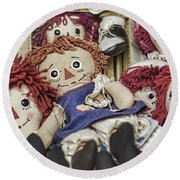 Raggedy Ann And Andy Round Beach Towel