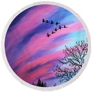 Raging Sky And Canada Geese Round Beach Towel by Barbara Griffin
