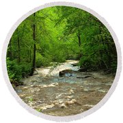 Raging Waters - West Virginia Backroad Round Beach Towel