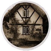 Rags Corner Cottage Nether Wallop Olde Sepia Round Beach Towel