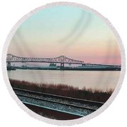 Round Beach Towel featuring the photograph Rail Along Mississippi River by Charlotte Schafer