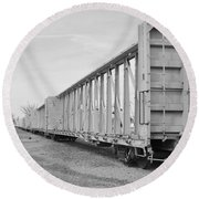Rail Cars Round Beach Towel