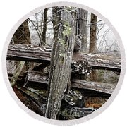Rail Fence With Ice Round Beach Towel by Daniel Reed
