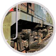 Round Beach Towel featuring the photograph Rail Truck by Michael Gordon