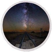 Railroad Crossing Round Beach Towel