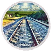 Railroad To Heaven Round Beach Towel by Carlos Avila