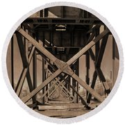 Railroad Trestle Sepia Round Beach Towel