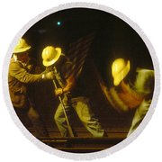 Round Beach Towel featuring the photograph Railroad Workers by Mark Greenberg