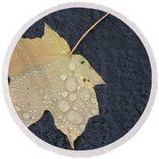 Rain Drops On A Yellow Maple Leaf Round Beach Towel