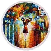 Rain Princess - Palette Knife Figure Oil Painting On Canvas By Leonid Afremov Round Beach Towel