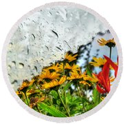 Rain Rain Go Away... Round Beach Towel