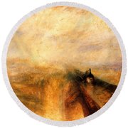 Rain Steam And Speed.  Round Beach Towel by J M W Turner