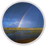 Rainbow Appears Over The Mouth Round Beach Towel