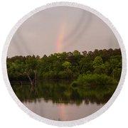 Rainbow At Sunset Round Beach Towel