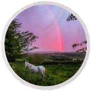 Rainbow At Sunset In County Clare Round Beach Towel