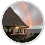 Rainbow At The Bath House Minister Island Nb Round Beach Towel