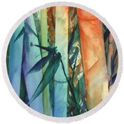 Round Beach Towel featuring the painting Rainbow Bamboo 2 by Marionette Taboniar