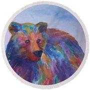 Rainbow Bear Round Beach Towel by Ellen Levinson