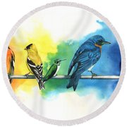 Rainbow Birds Round Beach Towel