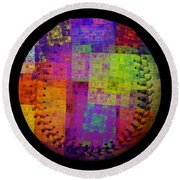 Round Beach Towel featuring the digital art Rainbow Bliss Baseball Square by Andee Design
