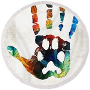 Rainbow Bridge Art - Never Forgotten - By Sharon Cummings Round Beach Towel