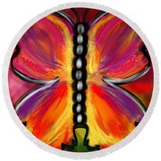 Rainbow Butterfly Round Beach Towel