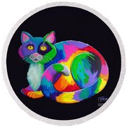Rainbow Calico Round Beach Towel