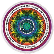 Rainbow Celtic Butterfly Mandala Round Beach Towel