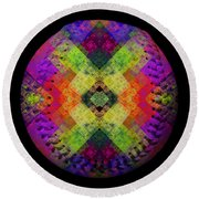 Round Beach Towel featuring the digital art Rainbow Connection Baseball Square by Andee Design