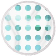 Rainbow Dots Aqua  Round Beach Towel