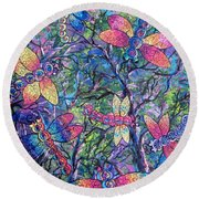 Round Beach Towel featuring the painting Rainbow Dragons by Megan Walsh