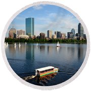 Rainbow Duck Boat On The Charles Round Beach Towel