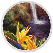 Rainbow Falls Big Island Hawaii Waterfall  Round Beach Towel
