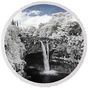 Rainbow Falls In Infrared 2 Round Beach Towel