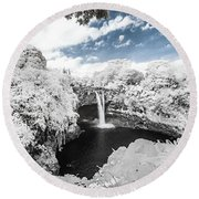 Rainbow Falls In Infrared 3 Round Beach Towel
