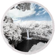 Rainbow Falls In Infrared 4 Round Beach Towel
