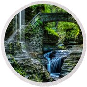 Rainbow Falls Watkins Glen Round Beach Towel