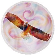 Rainbow Flying Eagle Watercolor Painting Round Beach Towel