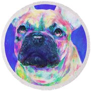 Round Beach Towel featuring the digital art Rainbow French Bulldog by Jane Schnetlage