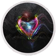 Rainbow Heart Round Beach Towel