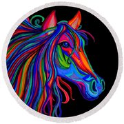 Rainbow Horse Head Round Beach Towel