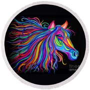 Rainbow Horse Too Round Beach Towel