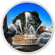 Rainbow In The Jc Nichols Memorial Fountain Round Beach Towel