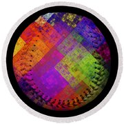 Round Beach Towel featuring the digital art Rainbow Infusion Baseball Square by Andee Design