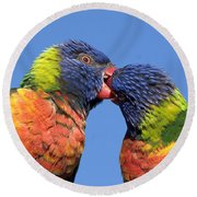 Rainbow Lorikeets Round Beach Towel